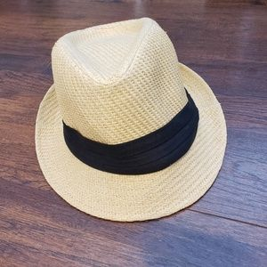 H&M Straw Hat/Fedora with black fabric detail